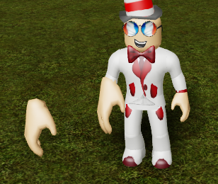 An image of a Roblox avatar with a large right hand, replaced using ReplaceBodyPartR15. How handy.