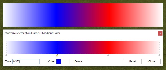 How the UIGradient Color ColorSequence applies color to a GuiObject