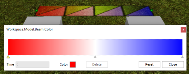 A Beam colorized from red to blue using a color gradient