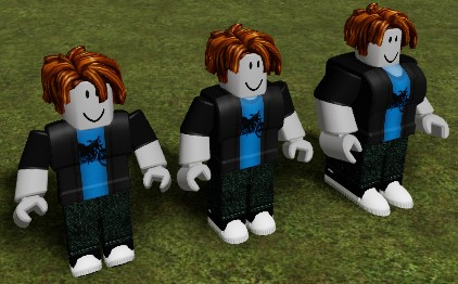 Three R15 figures whose Humanoids have HumanoidDescriptions applied with the following DepthScale values (from left-to-right): 0.25, 1.0, 2.0