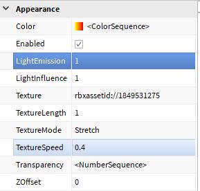 Beam LightEmission and TextureSpeed in Properties window