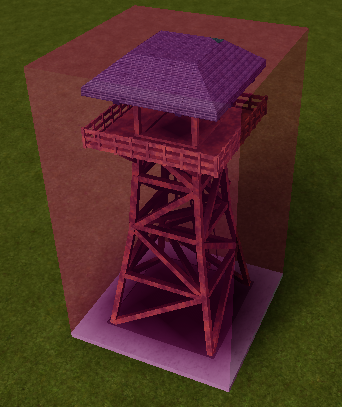 A model of an Observation Tower with a pink semitransparent part representing the volume returned by GetBoundingBox